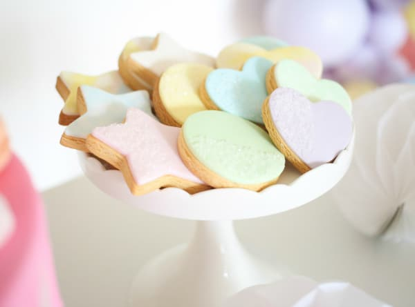 Pastel Star Heart and Circle Shaped Cookies