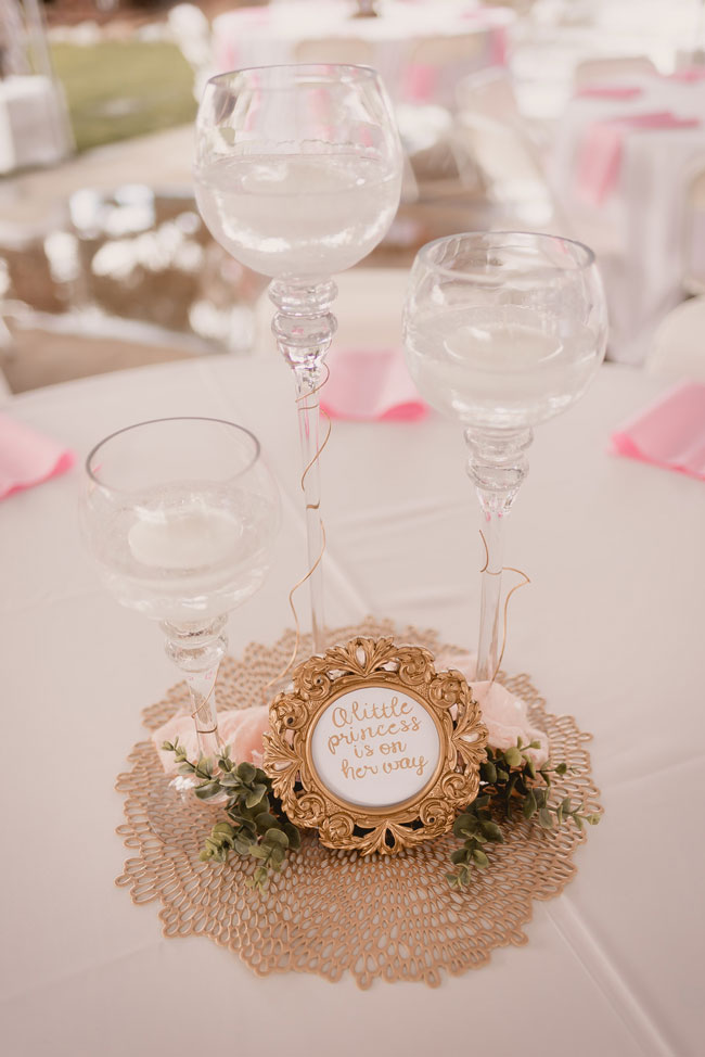 Pink and Gold Princess Baby Shower Centerpieces