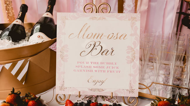 Pink and Gold Princess Baby Shower Momosa Bar