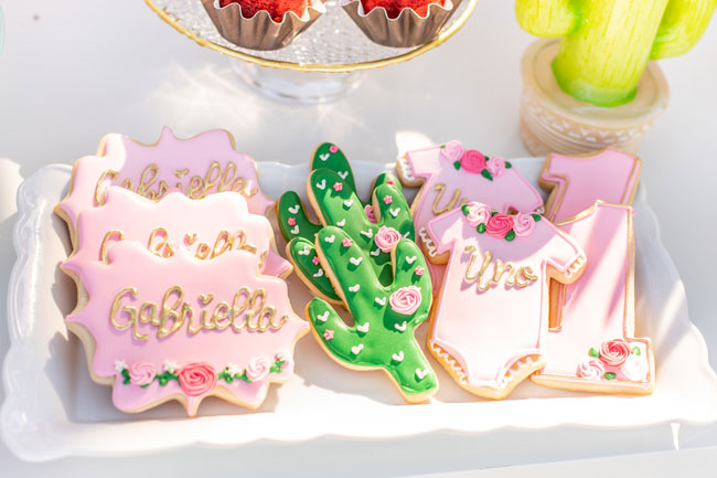 Cactus Themed First Birthday Cookies