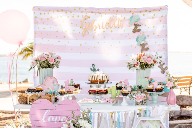 Pretty Cactus Themed First Birthday Party Backdrop and Decor
