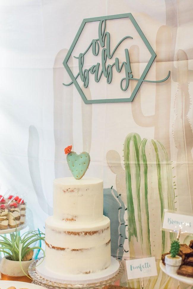 Desert Bloom Baby Shower Cake