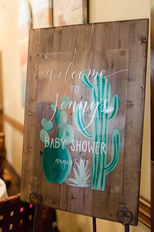 Desert Bloom Baby Shower Welcome Sign
