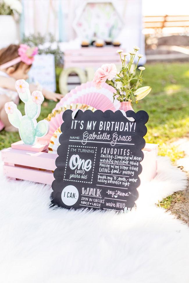 First Birthday Chalkboard Sign