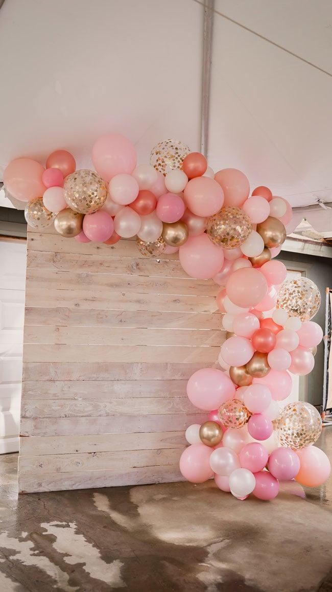 Pink and Gold Princess Baby Shower Balloon Garland Backdrop