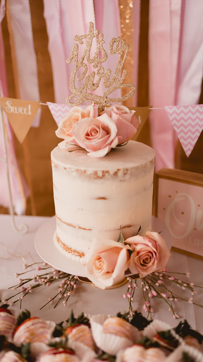 Pink and Gold Princess Baby Shower Cake and Cake Topper