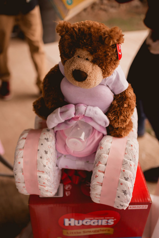 Pink and Gold Princess Baby Shower Bear Diaper Cake