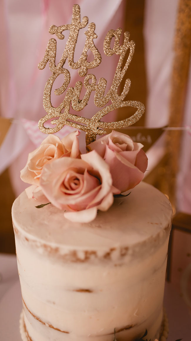 Pink and Gold Princess Baby Shower Gold Cake Topper