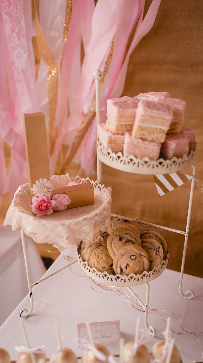 Pink and Gold Princess Baby Shower Food