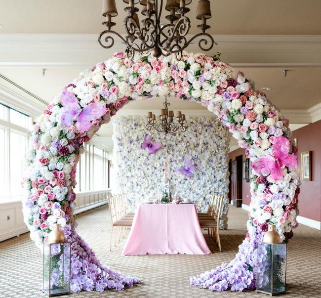 High Tea Bridal Shower Floral Arch Decor