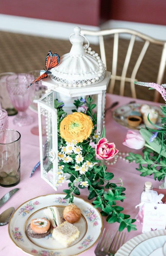 High Tea Bridal Shower Lantern and Flower Centerpiece