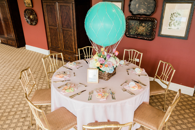 Hot Air Balloon Baby Shower Table Idea