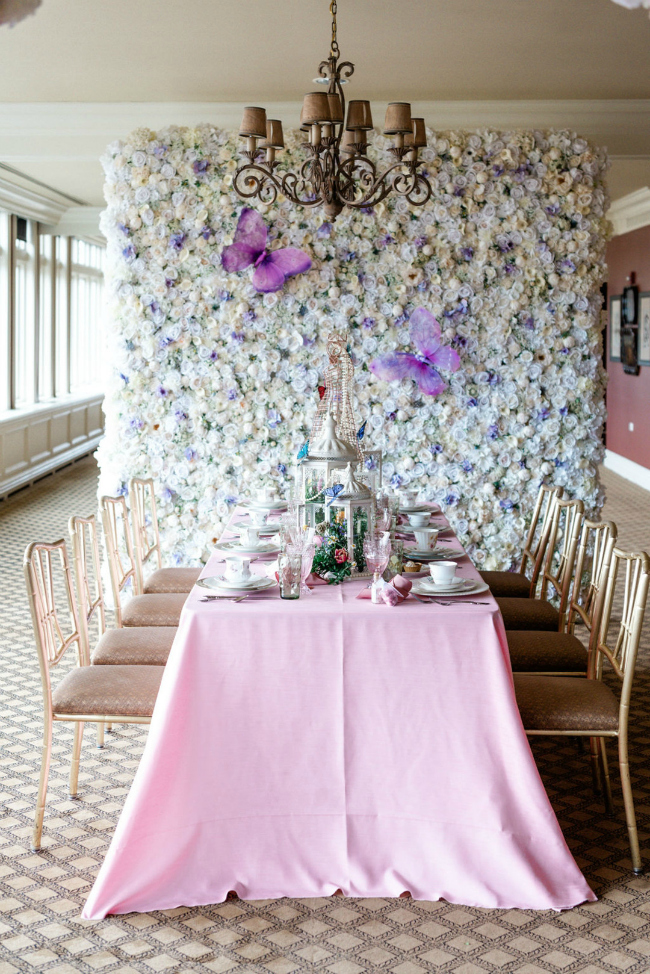 Tea Party Floral Wall Backdrop With Butterflies