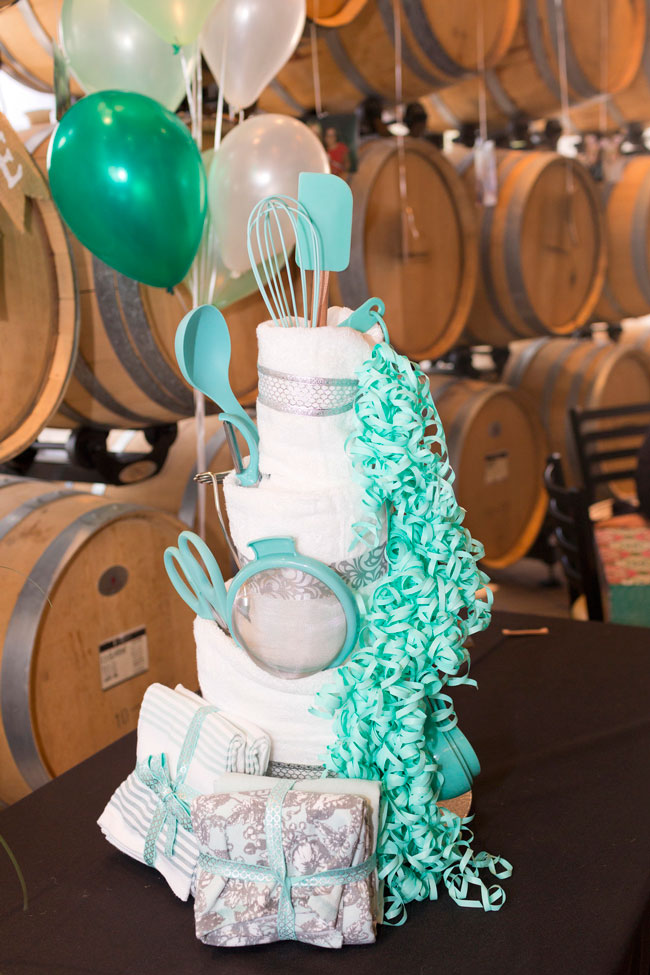 Kitchen Dish Towel Cake For a Bridal Shower