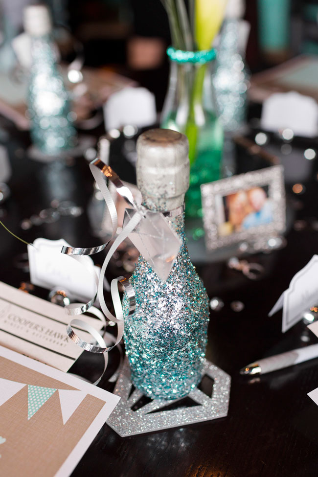 Mint To Be Bridal Shower glittery champagne favors