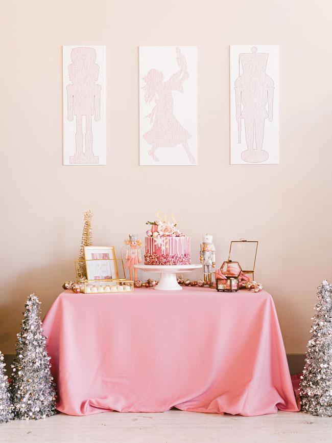 Pink Nutcracker Party Dessert Table