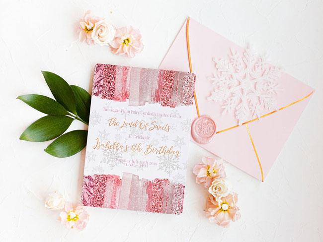 Pink Nutcracker Birthday Invitations