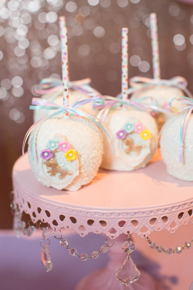 Unicorn themed chocolate covered apples