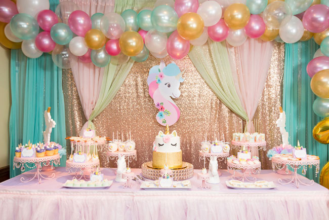 Sparkling Unicorn Birthday Party Dessert Table on Pretty My Party