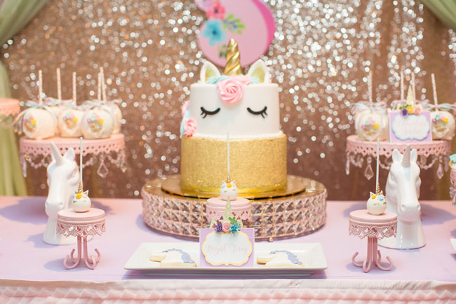 Unicorn Birthday Cake and Desserts