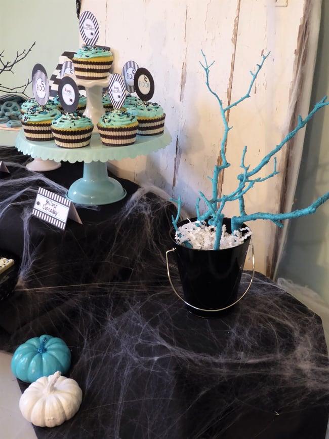 Blue Tree Halloween Decor