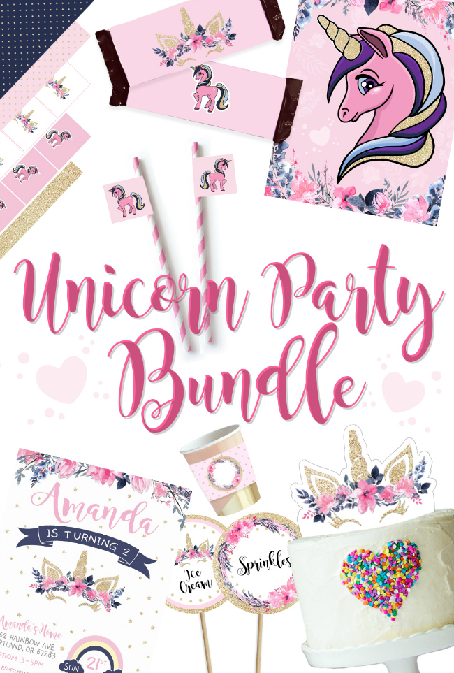 FREE Unicorn Printable Bundle with 14 FREE Unicorn Party Printables on Pretty My Party