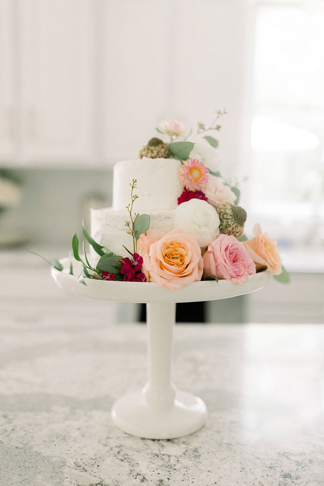 Floral Themed First Birthday Cake With Flowers