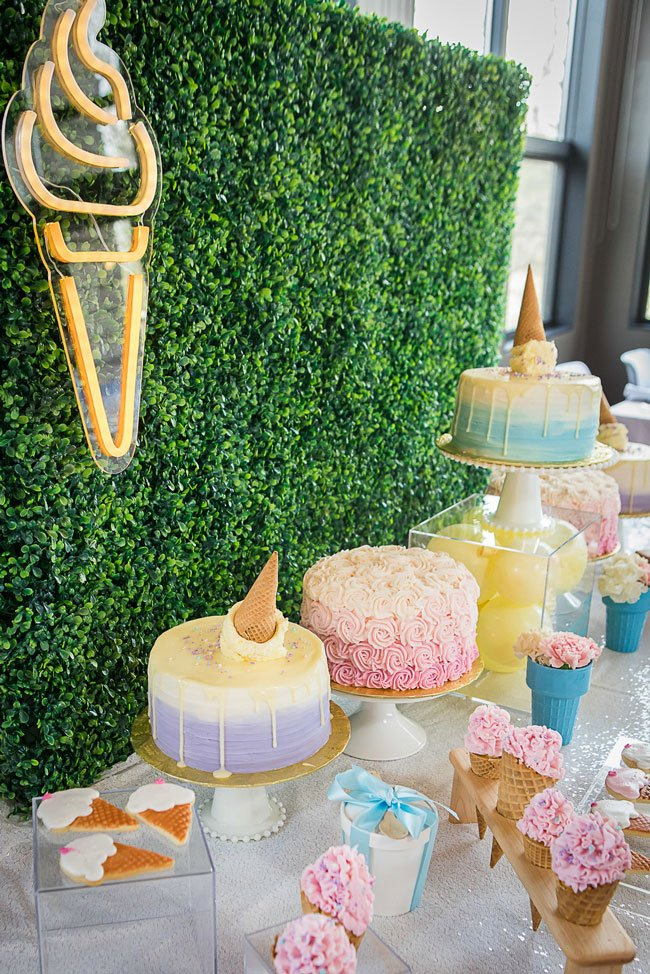 She Got Scooped Up Bridal Shower Dessert Table and Backdrop