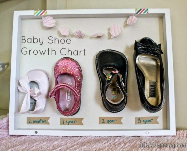 Baby Shoe Growth Chart Shadow Box Idea