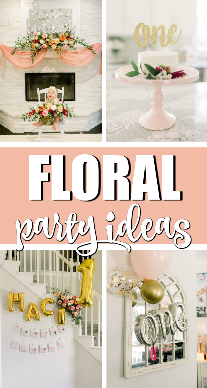 Floral Themed First Birthday on Pretty My Party