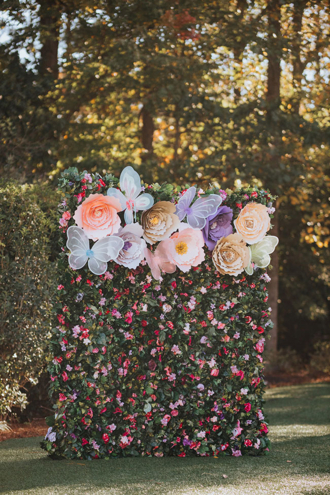 Gorgeous Butterfly and Flower Photo Booth Backdrop