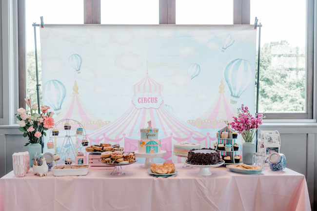 Carnival First Birthday Party Dessert Table
