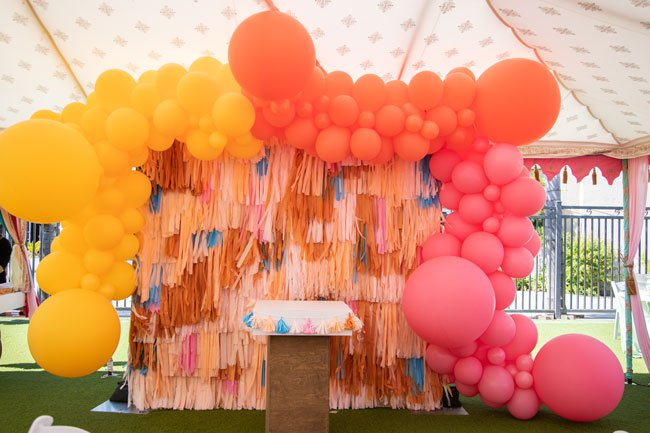 Colorful Balloon and Streamer Backdrop