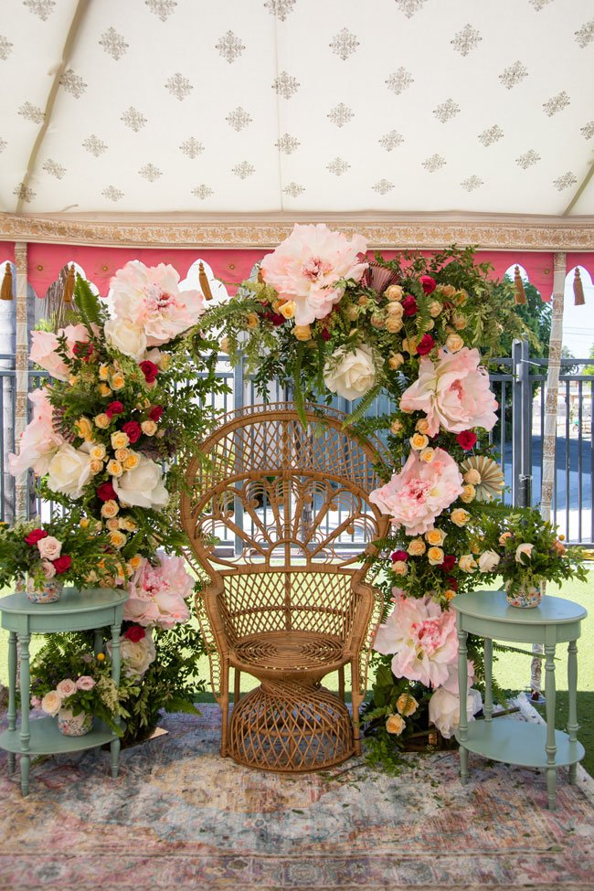 Wicker Chair with Floral Decorations