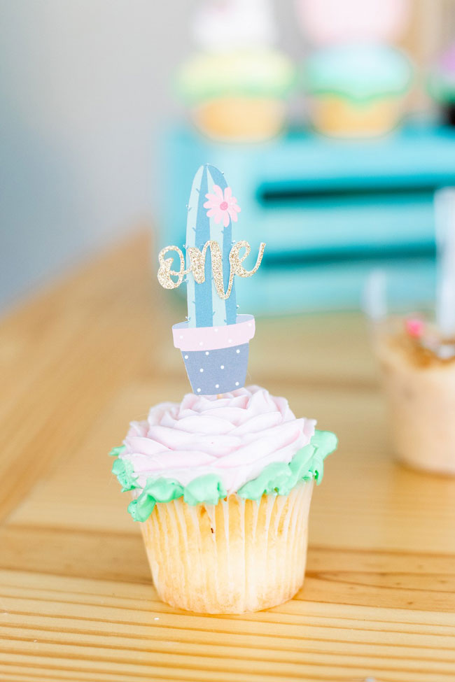 Cactus One Cupcake Toppers