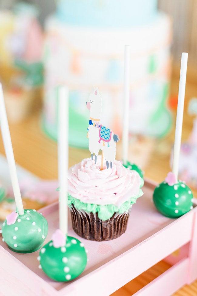 Llama Cupcake Topper and Cactus Cake Pops