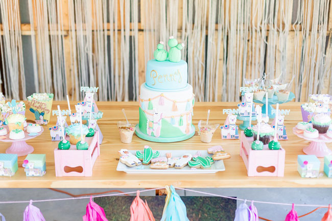 Llama and Cactus Party Desserts